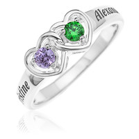 INTERLOCKING HEART RING WITH BIRTHSTONES- STERLING SILVER