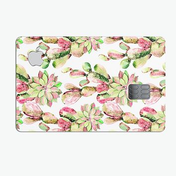 Watercolor Cactus Succulent Bloom V2 - Premium Protective Decal Skin-Kit for the Apple Credit Card