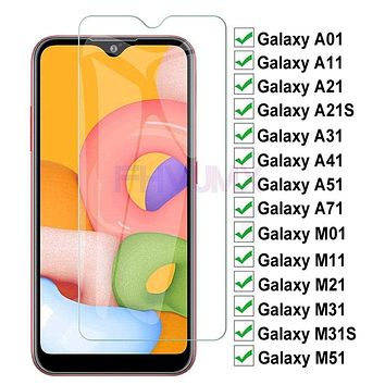 9H Tempered Glass For Samsung Galaxy A01 A11 A21 A31 A41 A51 A71 Screen Protector Glass M01 M11 M21 M31 M51 Protective Film Case