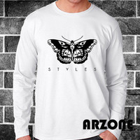 One Direction Shirt 1D Long Sleeved Harry Styles Tatto Long Sleeve Printed White Color Unisex Size - AR52