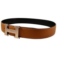 Auth HERMES Silver Constance Buckle 32 & Box Vache Reversible Belt Noir Natural