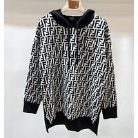 FENDI Autumn Winter Popular Women Loose F Letter Long Sleeve Hooded Knit Sweater Top Sweatshirt White