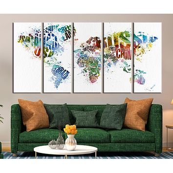 World Map with Country Names Canvas Art Print Large Wall Art World Map with Country Names Canvas