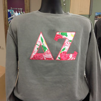 THANKSGIVING WEEKEND SALE Official Sorority Lilly Pulitzer Fabric Lettered Sweatshirt with Applique!