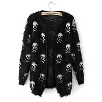 Women sweater knit wool Skull head cardigan loose