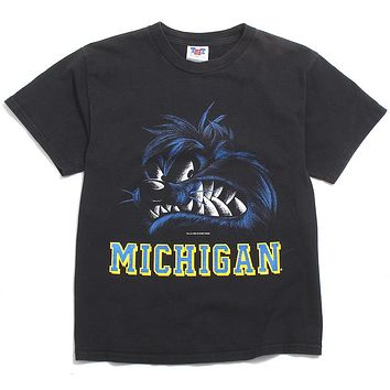 University of Michigan Taz The Tasmanian Devil Looney Tunes Growling Face TNT T-Shirt Black (Youth Large)