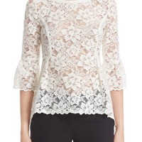 Oscar de la Renta High/Low Lace Blouse | Nordstrom