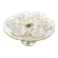 "Passover Seder Plate Crystal on leg with Gold 5.5""Hx 13.5"""