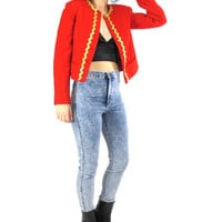 80s Red Wool Pendelton Blazer Marching Band Jacket Button Up Cropped Blazer Fitted Wool Blazer Bric A Brac Gold Ribbon Trim Costume (XS/S)