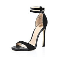 River Island Womens Black double strap barely there heels