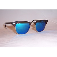 NEW RAY BAN Sunglasses CLUBMASTER 3016 114517 HAVANA/BLUE MIRROR 49MM AUTHENTIC