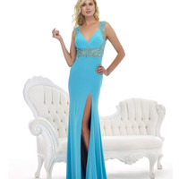 Aqua Blue Beaded Open Back Gown Prom 2015