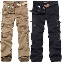 Army Pants Hip-Hop washed cotton casual pant male multi-pocket Military cargo pants man's