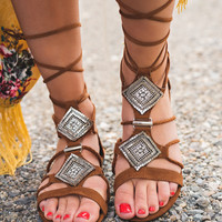 Step Into Summer Self Tie Rhinestone Detail Suede Gladiator Sandals (Camel)