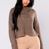 Back At It Turtleneck Sweater - Grey