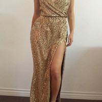 Golden Sequined Spaghetti Strap High Slit Dress
