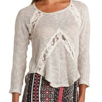 Lace Cut-Out Long Sleeve High-Low Top - Taupe Combo