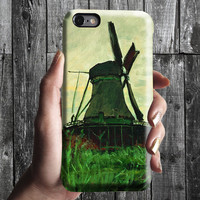 Windmill at Zaandam - Claude Monet iPhone Case 6, 6S, 6 Plus, 4S, 5S. Phone Cell. Art Painting. Gift Idea Anniversary. Gift for him and her