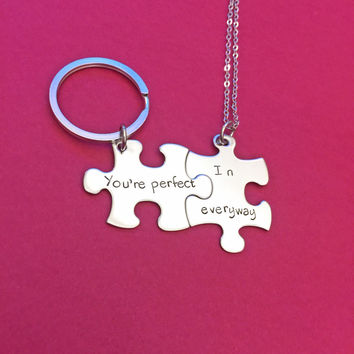 Your Perfect in Every way, Necklace Keychain Set, couples gift, gift for her him,Boyfriend gift , Anniversary Gift