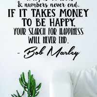 Bob Marley Money is Numbers Decal Quote Sticker Wall Vinyl Art Decor Home Music Lyrics Reggae One Love Inspirational