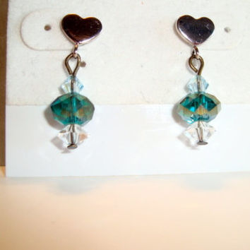 Silver Heart with Turquoise and Silver Iridescant Crystal Earrings - Neat Heart Earrins