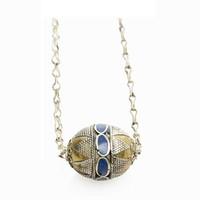 Lapis and Silver Bead Necklace