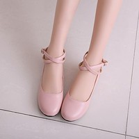 Ankle Staps Women Low Heels Shoes