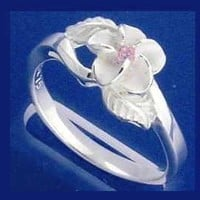 STERLING SILVER 925 HAWAIIAN PLUMERIA FLOWER MAILE LEAF PINK CZ RING SIZE 3 - 10