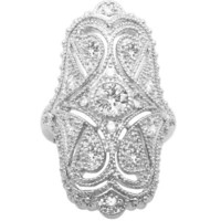 Jankuo Jewelry Curve Plus Size Symmetrical Shape Vintage Style Cubic Zirconia Ring Ship in Gift Box.