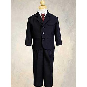 5 Piece Navy Blue Pin-Striped Suit with Burgundy Tie  LT3720