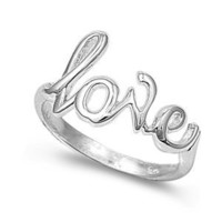 Sterling Silver Love Ring (Size 4 - 10) - Size 7