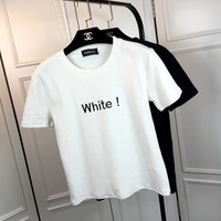 Letter Embroidery Short Sleeves  Round Neck T-Shirt