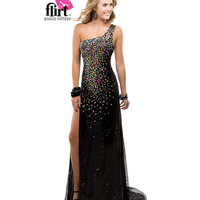 Flirt by Maggie Sottero 2014 Prom Dresses - Black Sequin & Chiffon Asymmetrical One Shoulder Gown