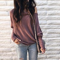 Simplee Loose Casual off Shoulder Sweater