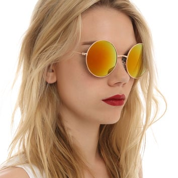 Gold Round Red Flash Sunglasses