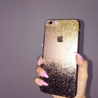 BRIGHT MOON Black Gold Ombre Glitters Sparkle Fading Transparent Phone Case 5/5s/6/6s/6s plus for iPhone & Samsung s5/s6/s6 edge+ Clear