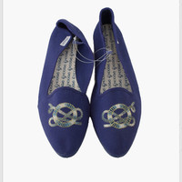 1980s Sasson Anchor Embroidered Canvas Flats . Size 10