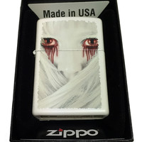 Zippo Custom Lighter - Girl with Blood Dripping from Red Eyes - Regular White Matte 214CI402125