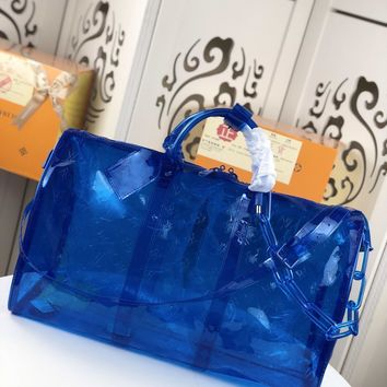 Kuyou Gb22991 Louis Vuitton Lv M53271 Blue Monogram Pvc Travel All Collections Keepall Bandouliere 50 50x 29x 23cm