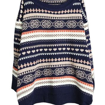 Ninimour- Women's Vintage Aztec Loose Knitted Pullovers Sweaters (Deep blue)