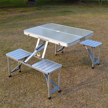 Outdoor Folding Table Chair Camping Aluminium Alloy Picnic Table Waterproof Durable Folding Table Desk For  Beach table