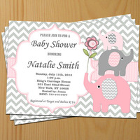 Girl Baby Shower Invitation Elephant Baby Shower Invitation Baby Girl Shower Invitation Baby Shower Invite Pink (50lp) - Free Thank You Card