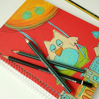 Notebook - Handmade and hand painted - Owl in a swing