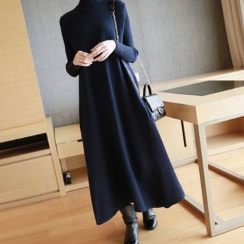Women's Wear Medium-length Loose-fitting Sweater Skirt With Bottom
