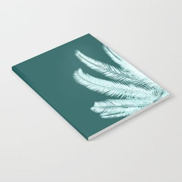 Palm leaves silhouettes on teal by ARTbyJWP