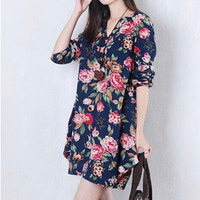 Women Vintage Floral Long Sleeve V-Neck Casual Dress Pregnant Maternity Linen Dresses M-XXL NW