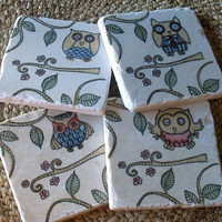 Owl Coasters Whimsical Owls at Play Set of 4 by MyLittleChick