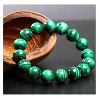 Natural Stone Chakra Bracelet, Emerald Malachite Handmade Bead Jewelry