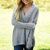 Ash Deep V-Neck Jacquard Batwing Sleeve Pullover Sweater