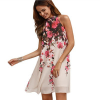Fashion Flower Print Sleeveless Narrow Shoulder Chiffon Mini Dress